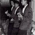 THE SHARKS in Blankenberge 1963 vlnr: Carlos van den Berg - Rudy de Queljoe - Rob van Raalten (fotocollectie: Carlos van den Berg)