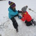 Wir bauen ein Schneepferd