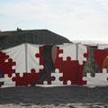Pára-vento pintado - Acrílico sobre tecido- Praia do Edifício Transparente