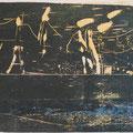 """Stein im Meer""     Holzschnitt, 38 x 57 cm"