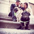FOTO DI FAMIGLIA CON IL CANE WEDDING DOG SITTER