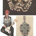 Nagrudnik od srebrnih novčića - đerdan (Posušje) / Muška nošnja iz okolice Posušja uz glazbalo - gusle / Srebrni križ, filigran (Sarajevo)