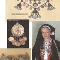 Nadgrudnik koji su u Bosnu donijeli majstori kujundžije Albanci katolici s Kosova (Livno) / Medaljon - jagnjoš (Livno) / Kopča za pojas - pafte (Banja Luka) / Nošnja udate žene iz okolice Posušja