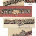 Pojas od pliša izvezen zlatnim koncem - sojka (Uskoplje) / Detalj prsluka - kožuška iz okolice Orašja / Pojas sa srebrnim ukrasima - edžer (Vareš) / Pojas od pliša izvezen zlatnim koncem s kopčom - edžer (Travnik) /Pojas od  vune s kopčom - tkanica (Žepče