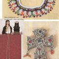 Ogrlica od staklenog zrnja - ogra / Djevojačko oglavlje - kalkan iz župe Čemerno / Srebrni privjesci u kosi - ćaftazeta (Kraljeva Sutjeska / Srebrni križ, filigran (Kraljeva Sutjeska)
