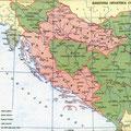 Zemljopisna karta uspostavljene Banovine Hrvatske 1939. godine