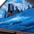 Blaues Wasser Graffiti Frankfurt Germany streetphoto by Mary Kwizness