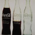 Clido Meilreles. Insercoes em Circuitos Ideologicos: Projecto Coca-Cola, 1970. Coca-Cola bottles, transferred text.
