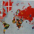 Alghiereo e Boetti. La mappa del mondo. 1984. Embroidered fabric mounted on board.