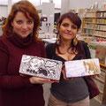 Elena Mirulla e Michela Cacciatore dallo stand di Cronaca di Topolinia