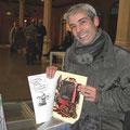 Il musicista Renzo Cugis si è fermato allo stand per parlare di mattoni, di fumetti, di musica gitana e a bere vino col Bonfa