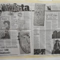Sabato 3, fresco di stampa l'articolo di Elfi Reiter (vedi Novellara) su Il Manifesto; subito appeso fresco di stampa sui padiglioni