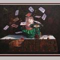 Der Spieler mit Vögel, Öl auf Leinwand 60x80cm