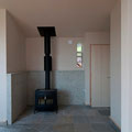 神奈川県藤沢市薪ストーブ設置例 バーモントキャスティングス アンコール 炉台:大谷石