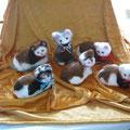 Süße Kätzchen und ein Maus gefilzt