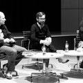 Jochen Schmidt und David Wagner im Gespräch mit Almuth Voß © Angela Leinen