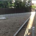 着工前2。右手側は植栽スペースの為、堆肥でマルチングします。