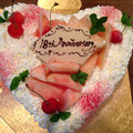 桃のショートケーキハート型