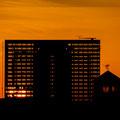 Sonnenaufgang hinter dem Dreischeibenhaus
