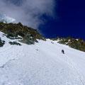 im Gipfel-Couloir nach dem Bergschrund