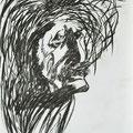 Einstein, 42x59cm, Kohle/Kreide