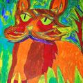 Dschungelkatze, 70x100 cm, Acryl