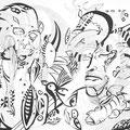 Faces, 70x50cm, Tusche