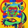 Göttermaske, 50x70cm, Aquarelle