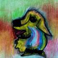 Hund, 70x100cm, Kohle/Kreide