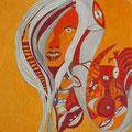 Teenie in rot-orange, 50x70cm, Polychromos