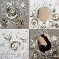 """""""Decoupages lin et blanc"""" 4x30x30"""