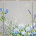 """Fleurs bleues"" 4x20x50"