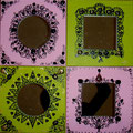 "Mirrors ""Dentelles"" rose vert 4x30x30"
