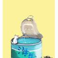 海缶 海を詰め込んだ缶詰に挑戦する猫さん。