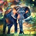 Animal Print Elefant - Kunstdruck auf Leinwand