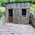 Nachgebaute Blockhütte