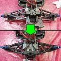 Oben zu sehen ist die Hinterachse eines Traxxas E-Revos, bestehend aus Originalteilen. Darunter ist dasselbe Auto, nur mit RPM-Querlenkern und den Stahl-Antriebswellen zum Nachrüsten.