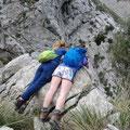 wir gucken Leuten im Torrent de Biniaraix beim Canyoning zu