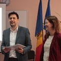 Iris Rehklau and Sebastian Schäffer at an intercultural workshop in Chisinau