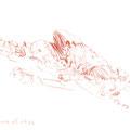 Rocapina (rocher du lion) Corse, 2002. Sanguine sur papier, 15 x 21 cm.