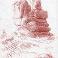 Pointe de la Torche, Bretagne. Sanguine sur papier. 15 x 21 cm.