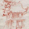 Pagode au pilier unique, Hanoï, Viet-Nam, 1999. Sanguine sur papier, 15 x 21 cm.
