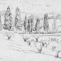 Les jardins de Boboli, Florence. Crayon graphite sur papier, 15 x 21 cm.
