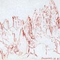 Calanches de Piana, Corse, 2002. Sanguine sur papier, 15 x 21 cm.