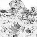 Rocapina,(rocher du lion Corse, 2002. Sanguine sur papier, 15 x 21 cm.