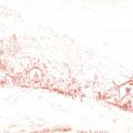 Piana, Corse. Sanguine sur papier, 15 x 21 cm.
