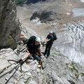 Lange Kletterei bis zum Gipfel