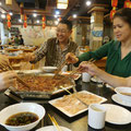 Eating Hot Pot with Diana's Mom (on the right) and her Dad (on the left).