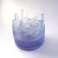 「Buildings-Blue-」(キャンドルホルダー)ガラス、キャスト 2013