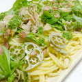 セロリソースの調理例(蓮根と水菜のパスタ)